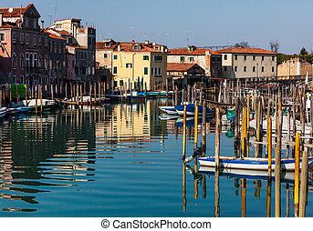 Small Port in Venice - Townscape with a canal , a smal port...