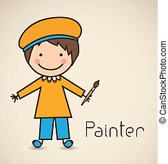 painter - Illustration of a painter with brush, vector...