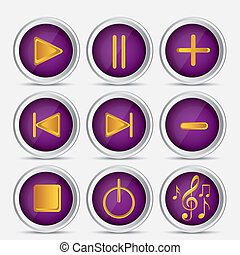 music icons - Illustration of icons playback, fast forward,...