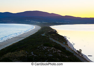 Bruny Island Tasmania - Sunset view of The Neck on Bruny...