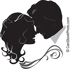 Newlyweds. Icon isolated on the white. Vector illustration