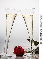 champagne, o, sfavillante, vino, champagne, vetro