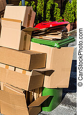 waste paper from cardboard boxes - empty cartons of packages...