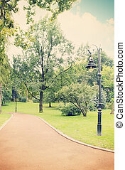 lamp in the park,tinted - Beautiful lamp beside a winding...