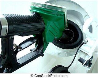 Gasoline refill - Close up scene of gasoline car refilling