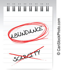 abundance vs scarcity illustration design over a white...
