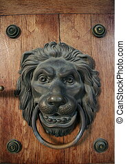 Old metal ancient door detail, knocker