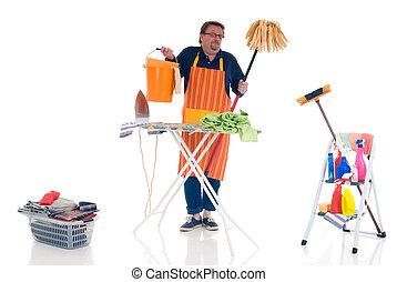 Man doing household