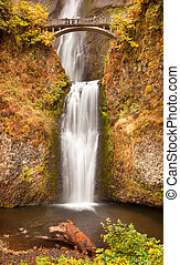 Bridzs,  multnomah, kolumbia, Ősz, békés, vízesés,  Oregon, északnyugati, bukás, vízesés, Folyó, gége