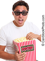 Screaming man in 3d glasses - Man in 3d glasses holding a...