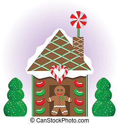 Christmas Gingerbread House - Vector Illustration of a...