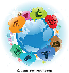 Social Media Globe Clouds - Vector Illustration of the world...