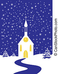 Christmas church of snowy landscape