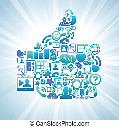 Social Media Like Thumbs Up Blue - Vector Illustration of...
