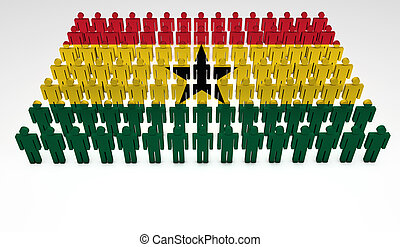 Ghana Parade - Parade of 3d people forming a top view of...