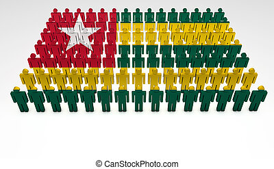 Togo Parade - Parade of 3d people forming a top view of Togo...