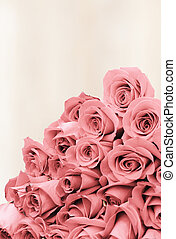 Bouquet of roses on a faded background paper - Bouquet of...