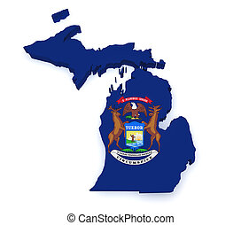 Michigan Map 3d Shape - Shape 3d of Michigan map with flag...