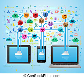 Cloud Social Media App Sync - Vector Illustration of social...