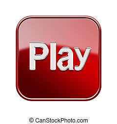 Play icon red, isolated on white background