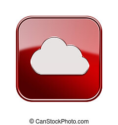 Cloud icon red, isolated on white background