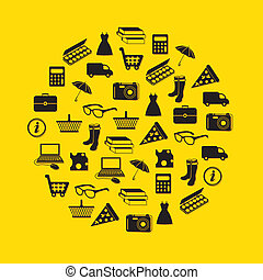 shopping icons in circle