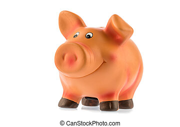 piggy bank on white background - a piggy bank on a white...