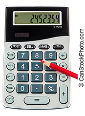 red pencil and calculator - a red pen on a calculator. save...