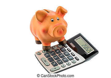 piggy bank and calculator - a calculator beside a piggy bank...
