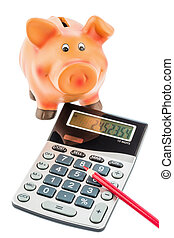 cutbacks, piggy bank and calculator - a red pen on a...