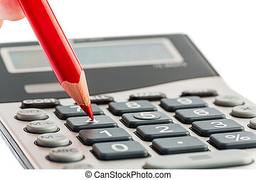 red pencil and calculator - a red pen on a calculator save...