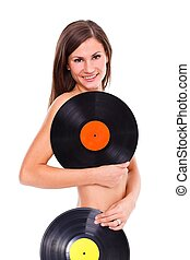 Sexy nude girl holding vinyl discs - Nude girl with two...