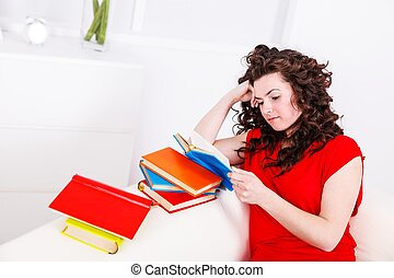 Woman with colorful books
