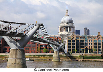 St Pauls Cathedral and Millennium bridge London, Great...