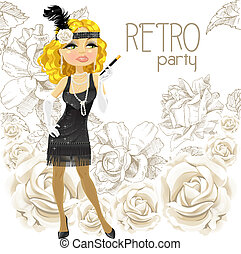 Woman on Retro party card - Cute blond woman with mouthpiece...