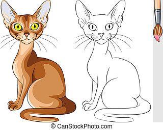 Vector Coloring Book of serious red cat Abyssinian