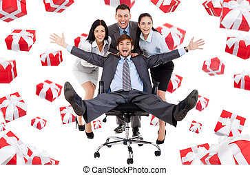 Business people creative design - Successful excited...