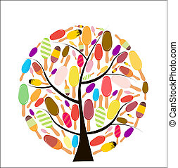Colorful popsicles vector illustration on tree. - Colorful...