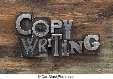 copywriting in metal type blocks - copywriting - text in...