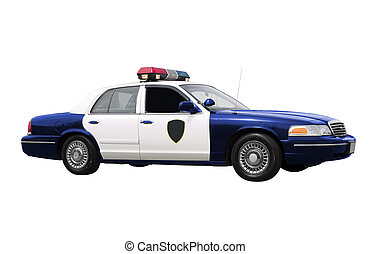 Police Car  - A police car isolated on a white background.