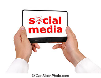 social media - digital tablet with social media symbol in...