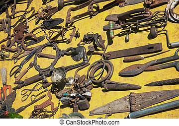Scrap iron on sale on the flee market in Puebla, Mexico