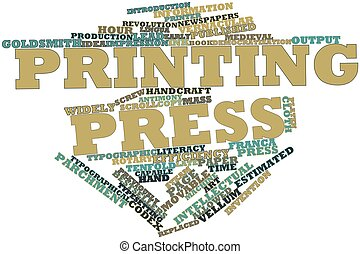 Printing press - Abstract word cloud for Printing press with...