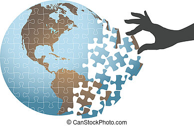 Person hand find global puzzle solution - Woman hand puts...
