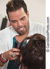 Smiling Latino Hairdresser