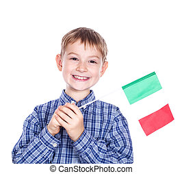 A little boy with Italian flag on the white background