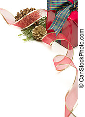 Christmas Present with Ribbon, Pine Cones and Pine Branches Isolated  on a White Background.