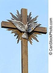 Peace Dove Cross - Silver dove with open wings at cross...