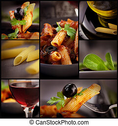 Penne with olives collage - Food series Collage of pasta...