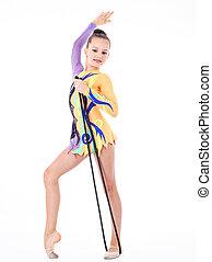 hermoso, flexible, niña, gimnasta, encima, blanco,...